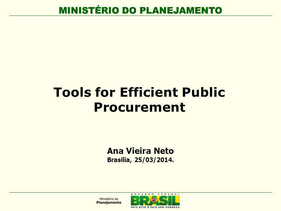 MINISTÉRIO DO PLANEJAMENTO Tools for Efficient Public Procurement Ana Vieira Neto Brasília, 25/03/2014.