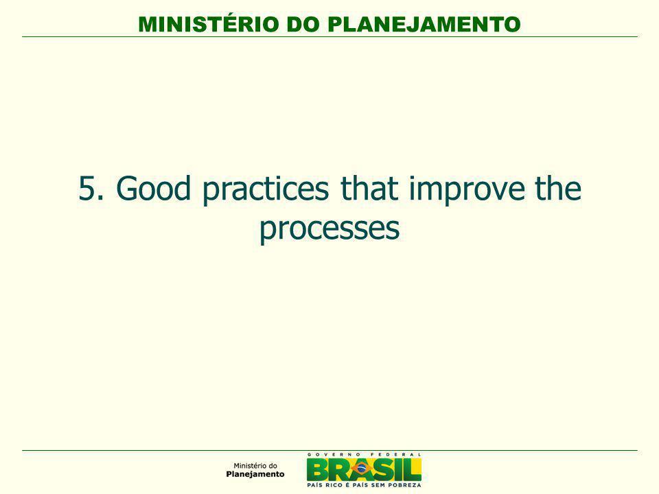 MINISTÉRIO DO PLANEJAMENTO 5. Good practices that improve the processes