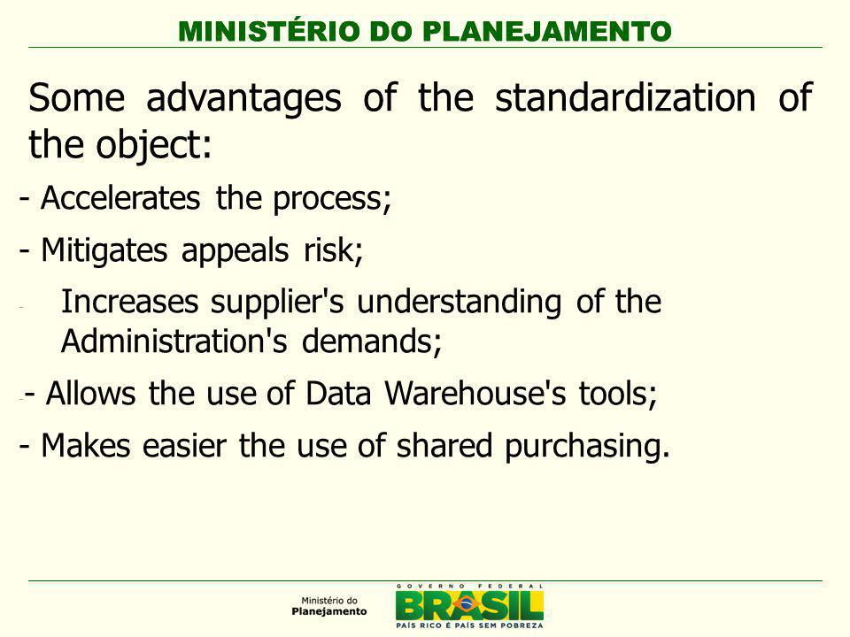 MINISTÉRIO DO PLANEJAMENTO Some advantages of the standardization of the object: - Accelerates the process; - Mitigates appeals risk; - Increases supplier s understanding of the Administration s demands; - - Allows the use of Data Warehouse s tools; - Makes easier the use of shared purchasing.