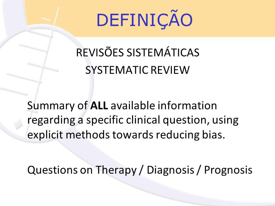 DEFINIÇÃO REVISÕES SISTEMÁTICAS SYSTEMATIC REVIEW Summary of ALL available information regarding a specific clinical question, using explicit methods towards reducing bias.