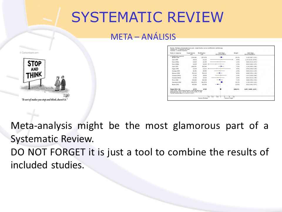 Meta-analysis might be the most glamorous part of a Systematic Review.