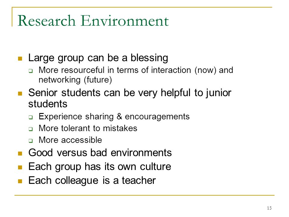 15 Research Environment Large group can be a blessing  More resourceful in terms of interaction (now) and networking (future) Senior students can be
