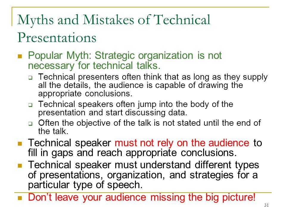 31 Myths and Mistakes of Technical Presentations Popular Myth: Strategic organization is not necessary for technical talks.  Technical presenters oft