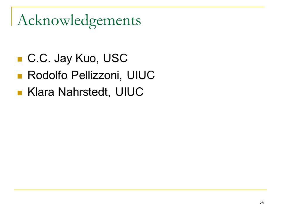 56 Acknowledgements C.C. Jay Kuo, USC Rodolfo Pellizzoni, UIUC Klara Nahrstedt, UIUC