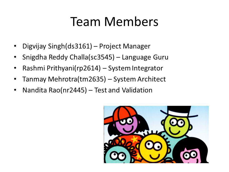 Team Members Digvijay Singh(ds3161) – Project Manager Snigdha Reddy Challa(sc3545) – Language Guru Rashmi Prithyani(rp2614) – System Integrator Tanmay Mehrotra(tm2635) – System Architect Nandita Rao(nr2445) – Test and Validation