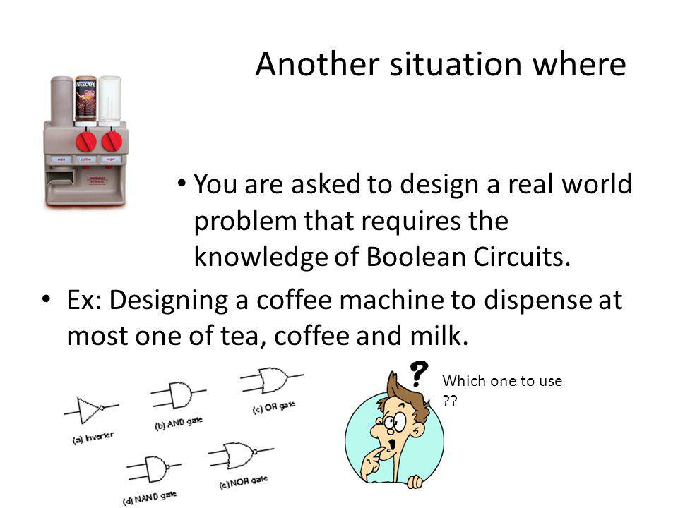 Another situation where You are asked to design a real world problem that requires the knowledge of Boolean Circuits.