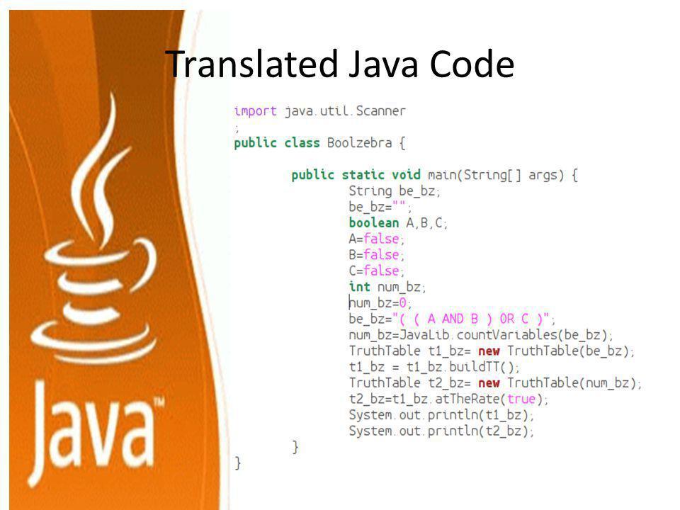 Translated Java Code