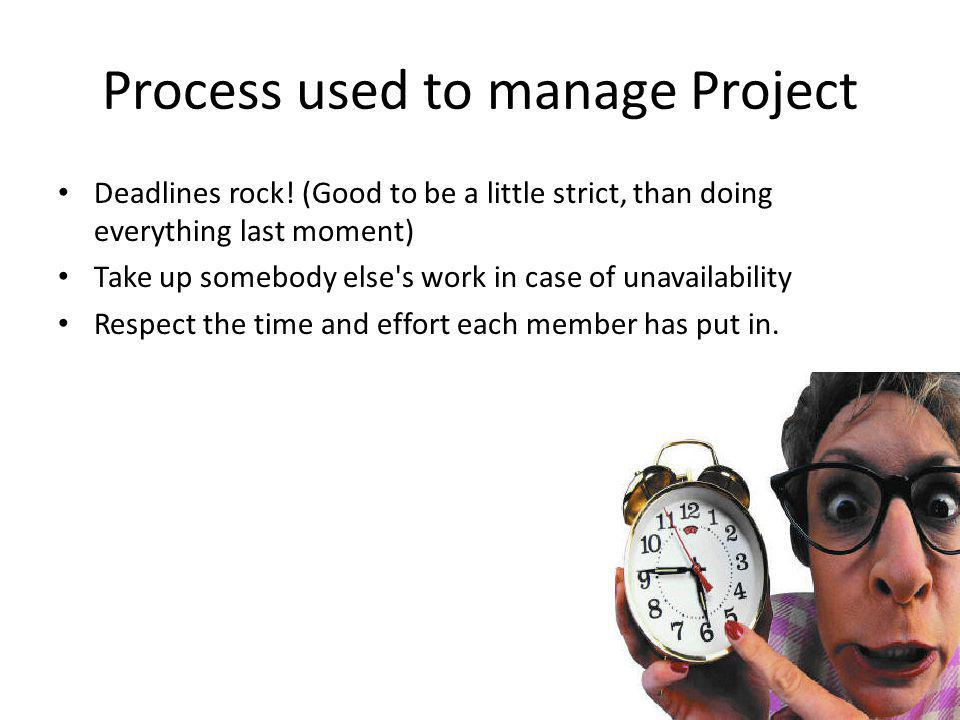 Process used to manage Project Deadlines rock.