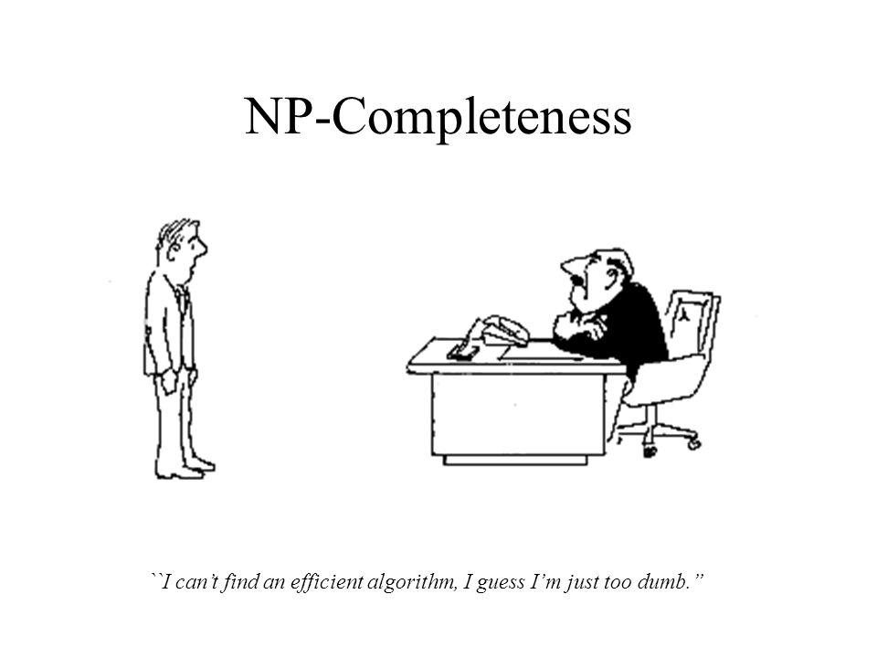 NP-Completeness ``I can't find an efficient algorithm, I guess I'm just too dumb.''