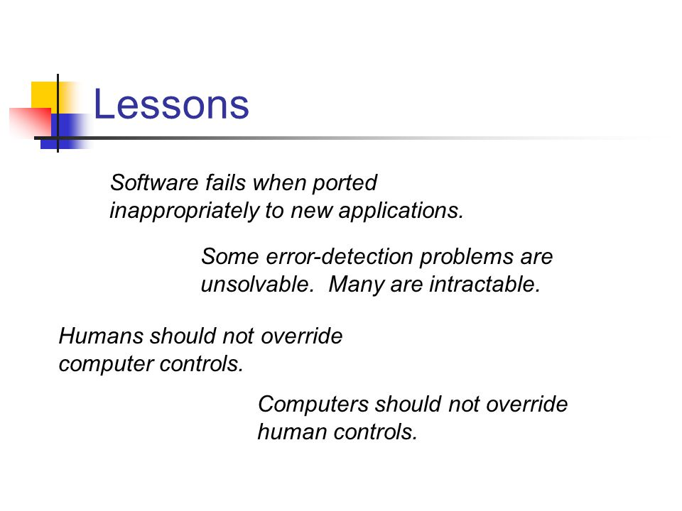 Lessons Software fails when ported inappropriately to new applications.