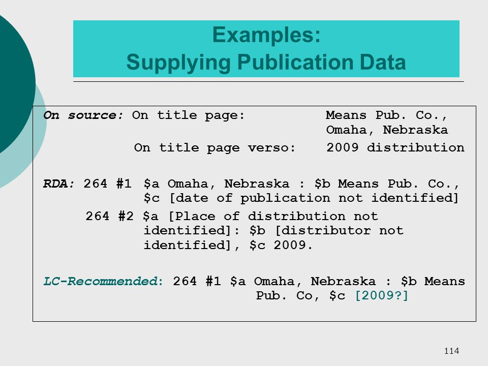 114 Examples: Supplying Publication Data On source: On title page: Means Pub.