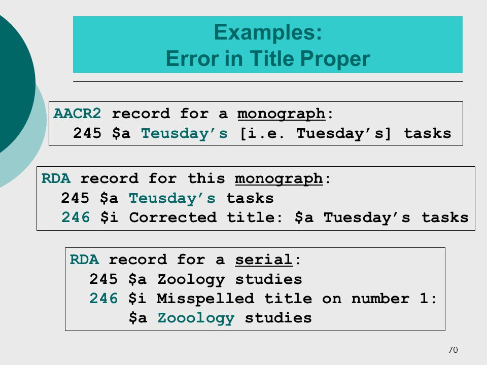 70 Examples: Error in Title Proper RDA record for this monograph: 245 $a Teusday's tasks 246 $i Corrected title: $a Tuesday's tasks RDA record for a serial: 245 $a Zoology studies 246 $i Misspelled title on number 1: $a Zooology studies AACR2 record for a monograph: 245 $a Teusday's [i.e.