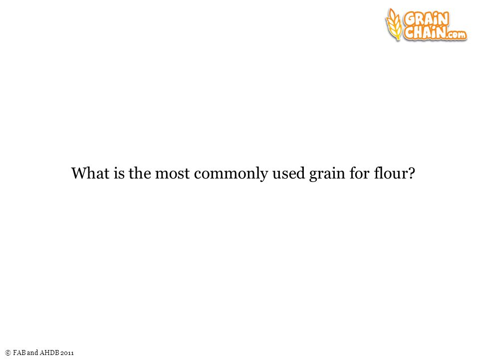 © FAB and AHDB 2011 What is the most commonly used grain for flour?