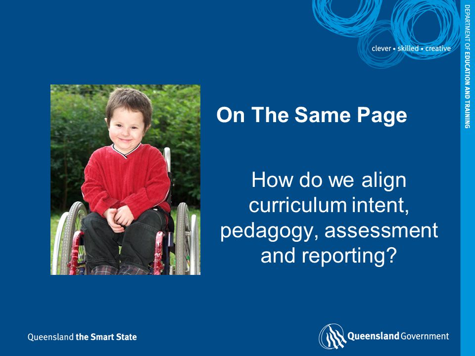 How do we align curriculum intent, pedagogy, assessment and reporting? On The Same Page