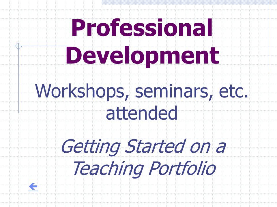 Professional Development Workshops, seminars, etc. attended Getting Started on a Teaching Portfolio 