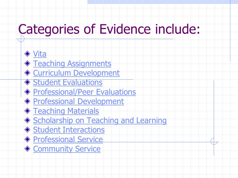 Categories of Evidence include: Vita Teaching Assignments Curriculum Development Student Evaluations Professional/Peer Evaluations Professional Development Teaching Materials Scholarship on Teaching and Learning Student Interactions Professional Service Community Service