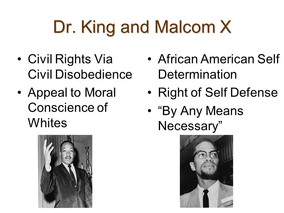 Dr. King and Malcom X Civil Rights Via Civil Disobedience Appeal to Moral Conscience of Whites African American Self Determination Right of Self Defen