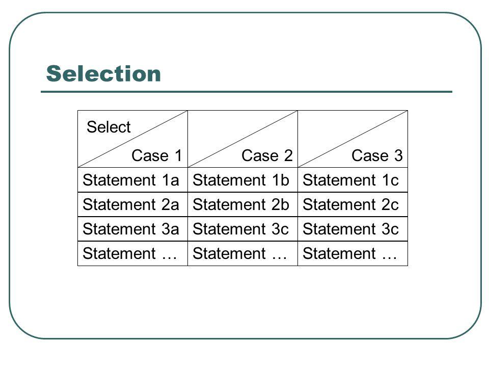 Selection Statement 1aStatement 1bStatement 1c Statement 2aStatement 2bStatement 2c Statement 3aStatement 3c Statement … Select Case 1Case 2Case 3