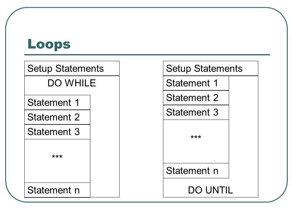 Loops DO WHILE Statement 1 Statement 2 Statement 3 Statement n *** Statement 1 Statement 2 Statement 3 Statement n *** DO UNTIL Setup Statements