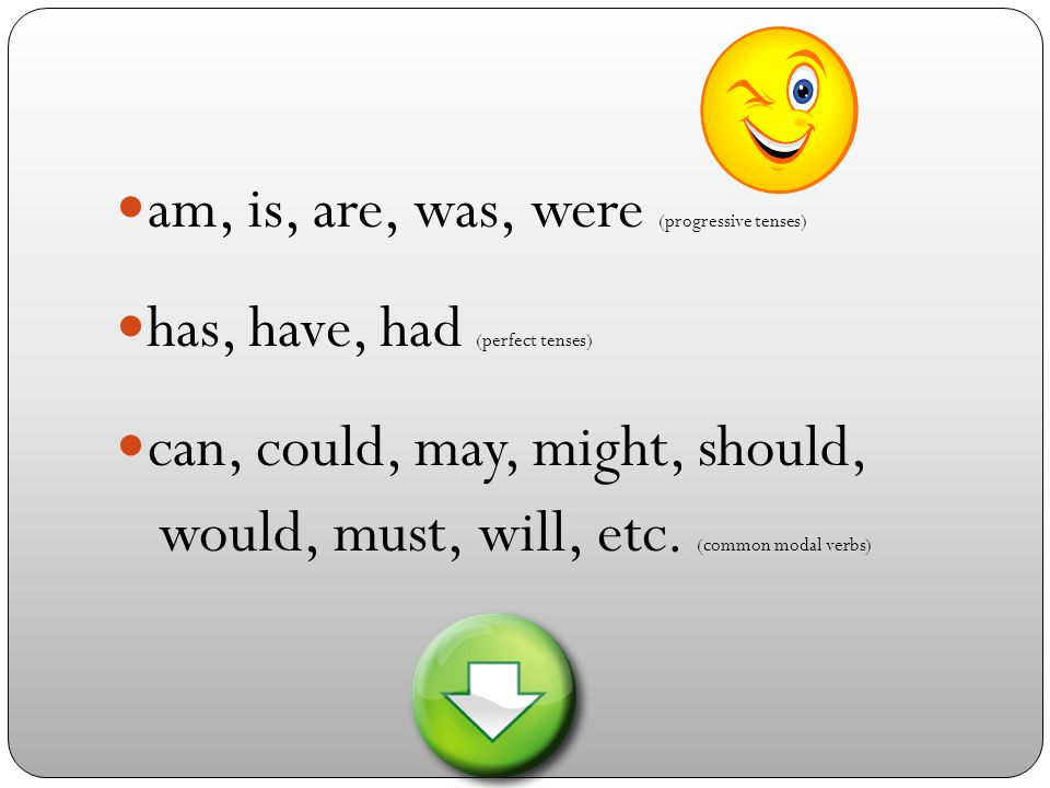 am, is, are, was, were (progressive tenses) has, have, had (perfect tenses) can, could, may, might, should, would, must, will, etc.