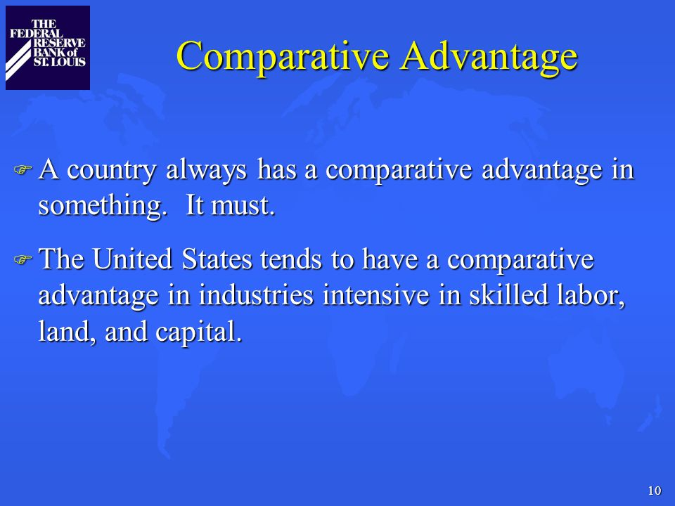 10 Comparative Advantage F A country always has a comparative advantage in something.