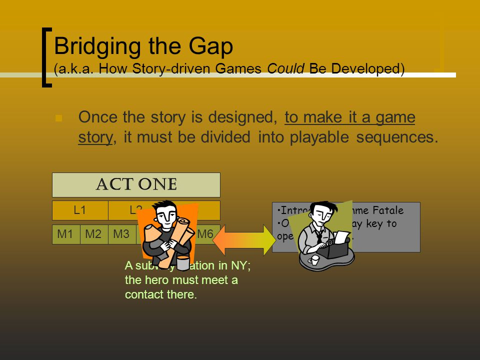 Bridging the Gap (a.k.a. How Story-driven Games Could Be Developed) Once the story is designed, to make it a game story, it must be divided into playa