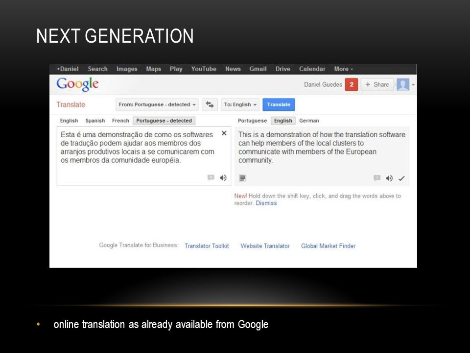 NEXT GENERATION online translation as already available from Google