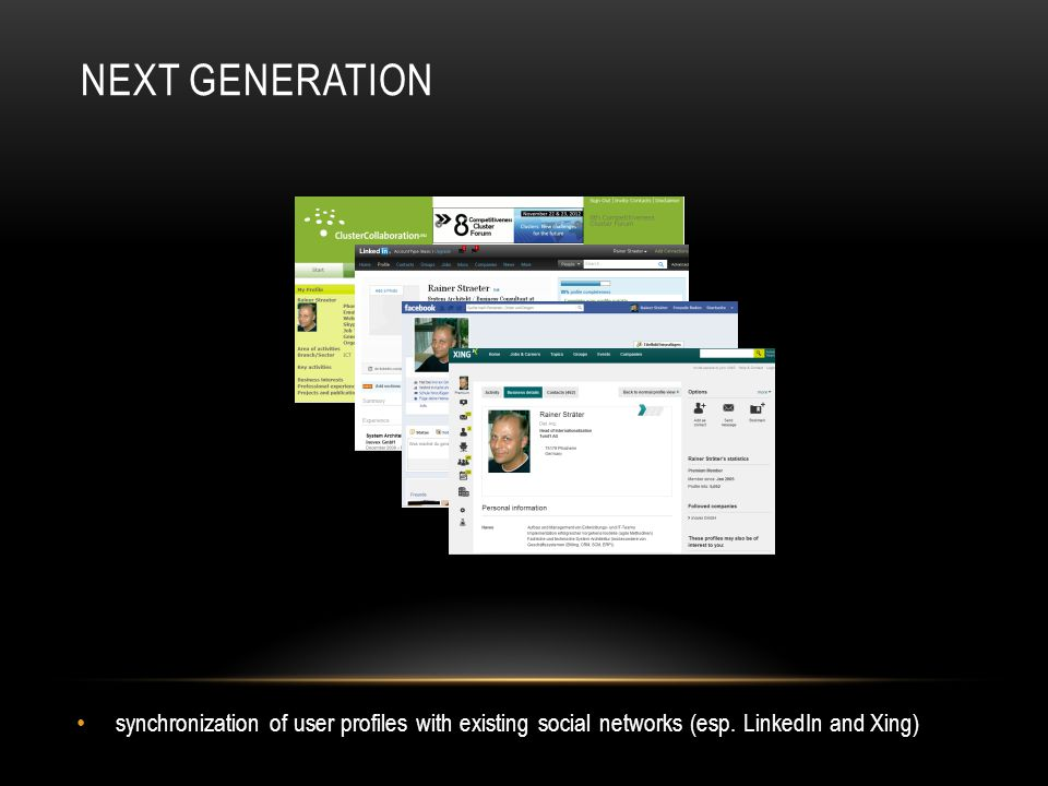 NEXT GENERATION synchronization of user profiles with existing social networks (esp.