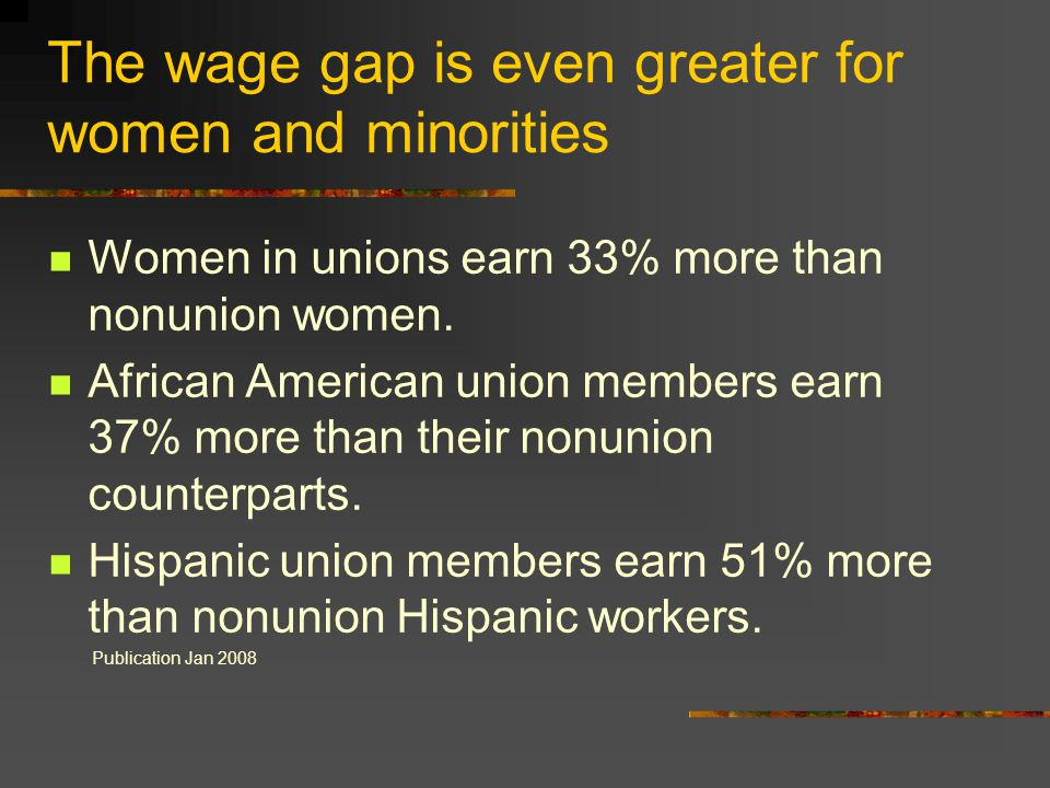 The wage gap is even greater for women and minorities Women in unions earn 33% more than nonunion women. African American union members earn 37% more