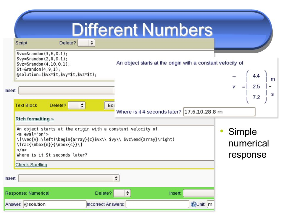 Different Numbers Simple numerical response