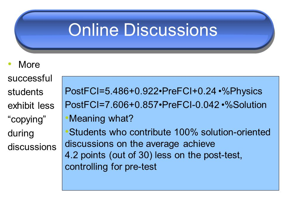 "Online Discussions More successful students exhibit less ""copying"" during discussions PostFCI=5.486+0.922PreFCI+0.24 %Physics PostFCI=7.606+0.857PreFC"