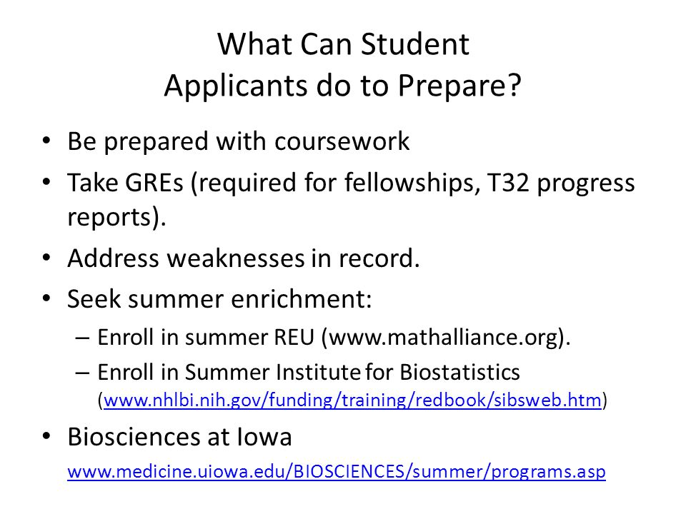 What Can Student Applicants do to Prepare.