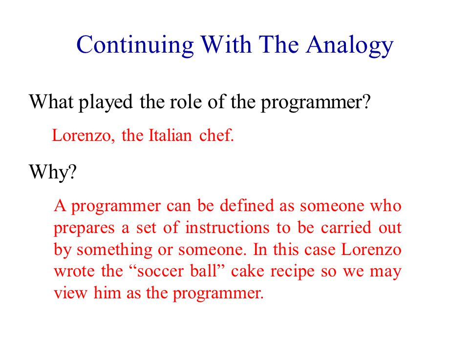 What played the role of the programmer? Lorenzo, the Italian chef. A programmer can be defined as someone who prepares a set of instructions to be car