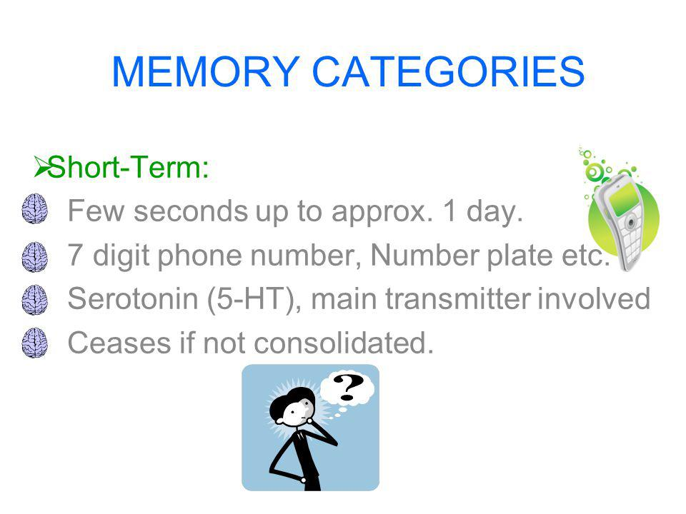 MEMORY CATEGORIES  Short-Term: Few seconds up to approx.