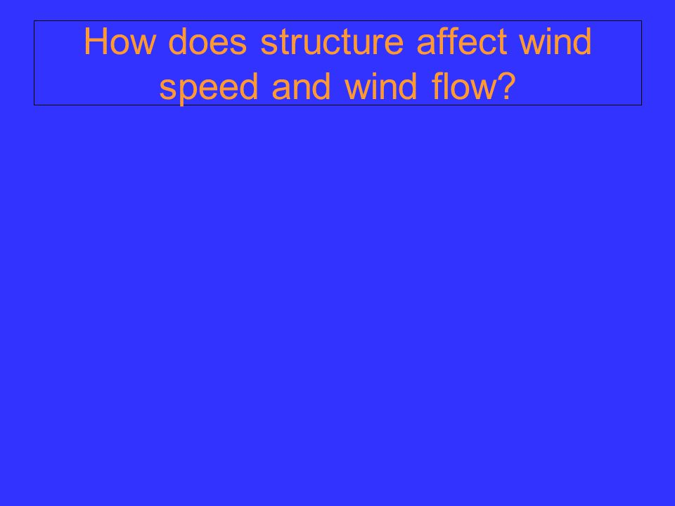 How does structure affect wind speed and wind flow?