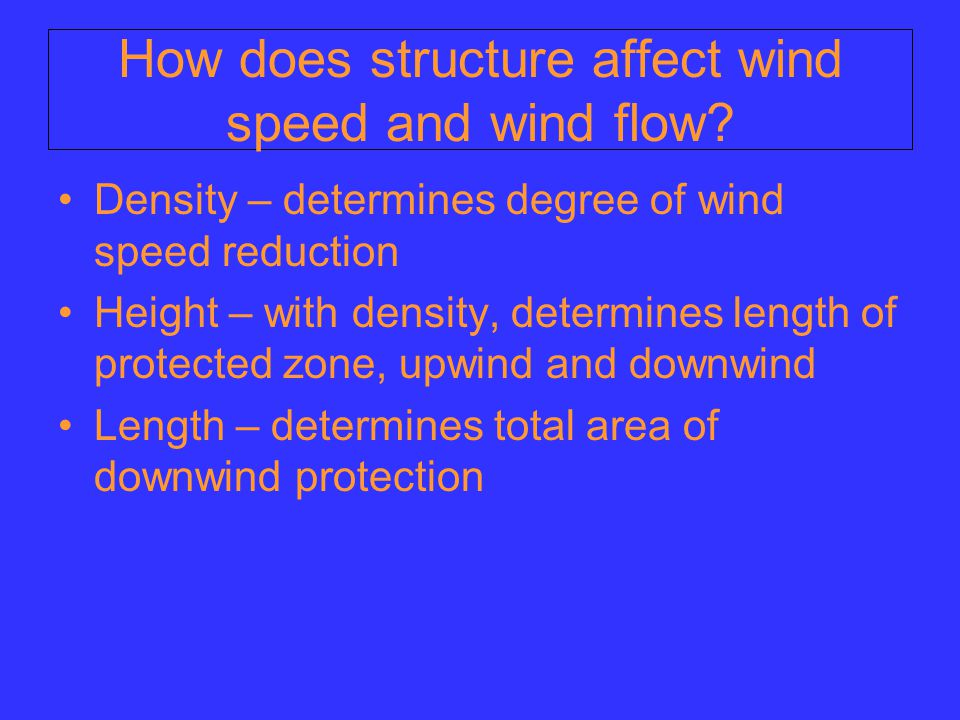 How does structure affect wind speed and wind flow.