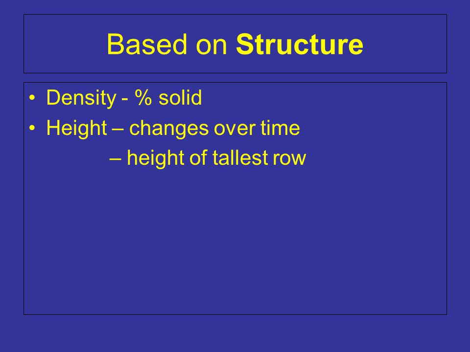 Based on Structure Density - % solid Height – changes over time – height of tallest row