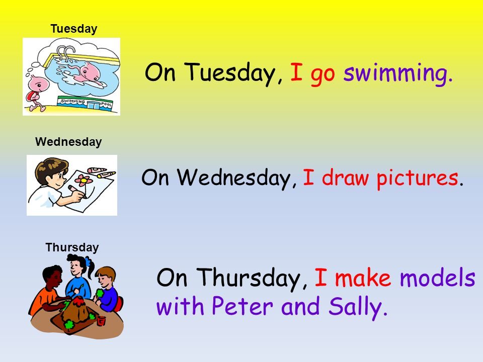 On Tuesday, I go swimming.On Wednesday, I draw pictures.