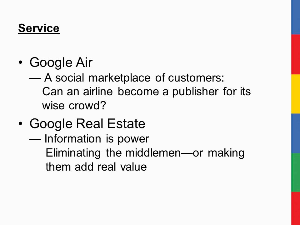 Service Google Air — A social marketplace of customers: Can an airline become a publisher for its wise crowd.