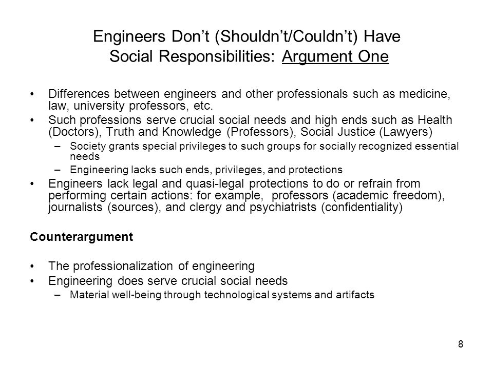59 The Social and Professional Responsibilities of Engineers by Deborah Johnson Personal and Professional Values Engineers should refuse to work on projects they deem to conflict with their (personal) morals PRINCIPLES Individual conscience used to make professional judgments Engineers should direct their skills only for projects of positive value to humanity Matters of conscience, and matters of safety and welfare of society inextricably linked PROBLEMS Principle empty of content (what does positive mean?) Fails to draw the line between personal and professional ethics (too much reliance on personal choices to decide what is ethical) Fails to provide ethical guidelines for engineers to follow