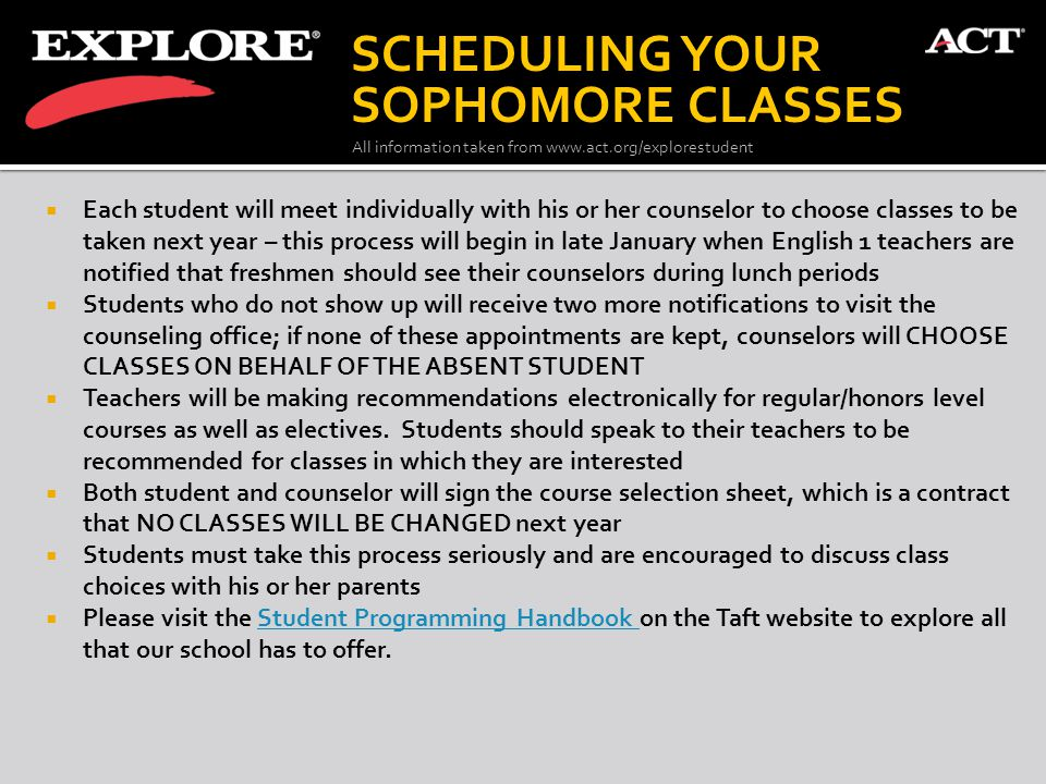 All information taken from www.act.org/explorestudent  Each student will meet individually with his or her counselor to choose classes to be taken ne