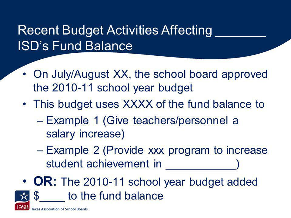 Recent Budget Activities Affecting _______ ISD's Fund Balance On July/August XX, the school board approved the 2010-11 school year budget This budget