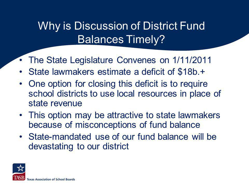 Why is Discussion of District Fund Balances Timely? The State Legislature Convenes on 1/11/2011 State lawmakers estimate a deficit of $18b.+ One optio