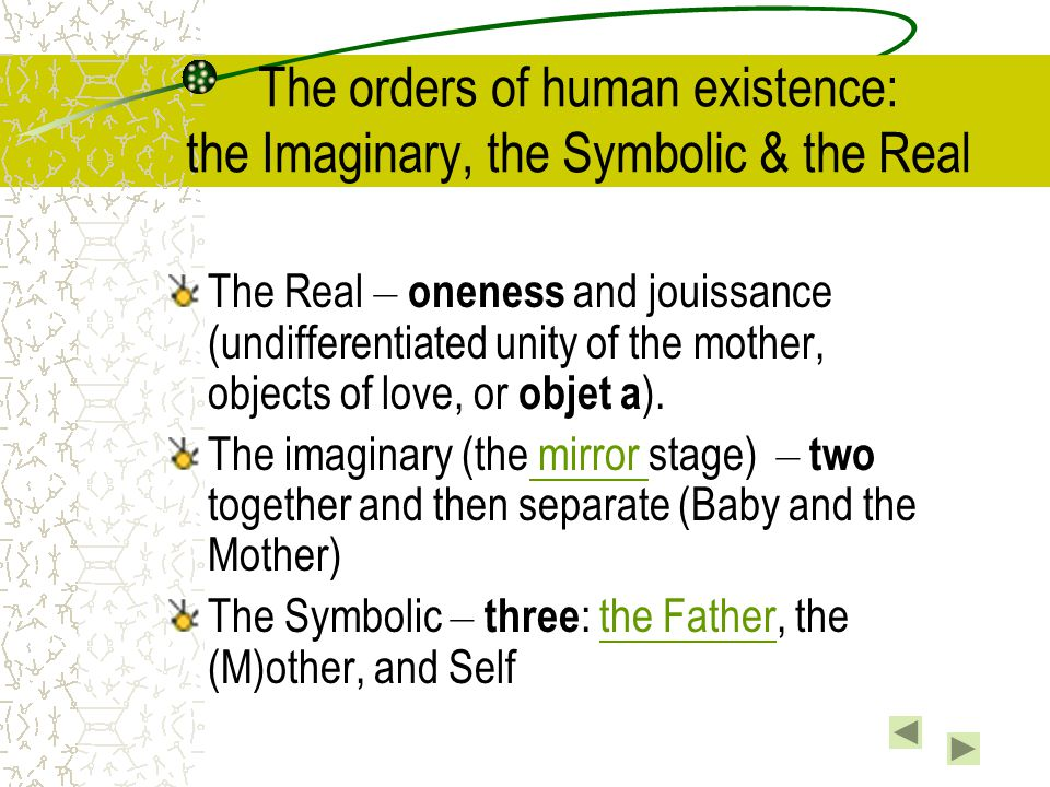 The Mirror Stage (chap 4: 165) The baby (with its fragmentary sense of self) identifies with an external image (of the body in the mirror or through the mother or primary caregiver)  have a sense of self (ideal ego).