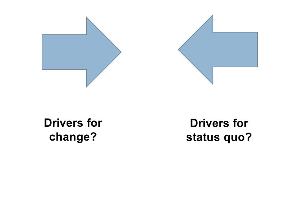 Drivers for change? Drivers for status quo?