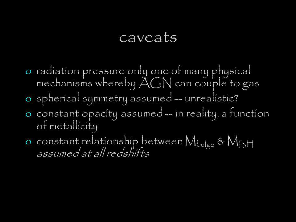 caveats oradiation pressure only one of many physical mechanisms whereby AGN can couple to gas ospherical symmetry assumed -- unrealistic.