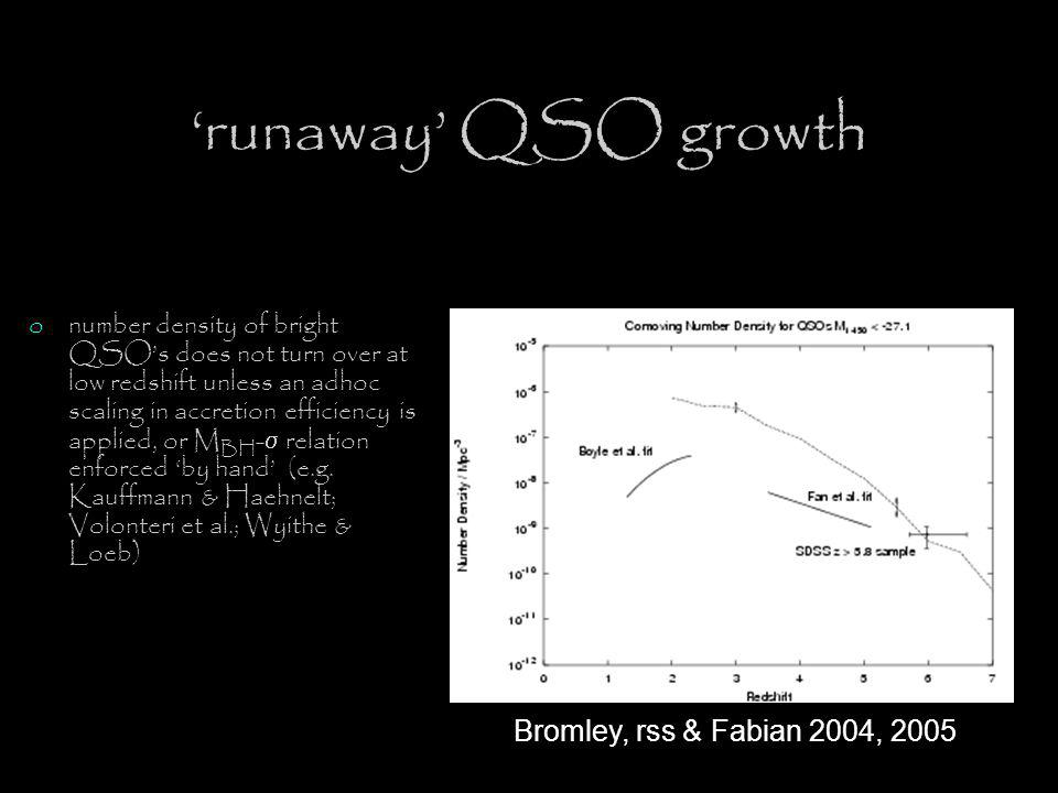 'runaway' QSO growth Bromley, rss & Fabian 2004, 2005 onumber density of bright QSO's does not turn over at low redshift unless an adhoc scaling in accretion efficiency is applied, or M BH -  relation enforced 'by hand' (e.g.