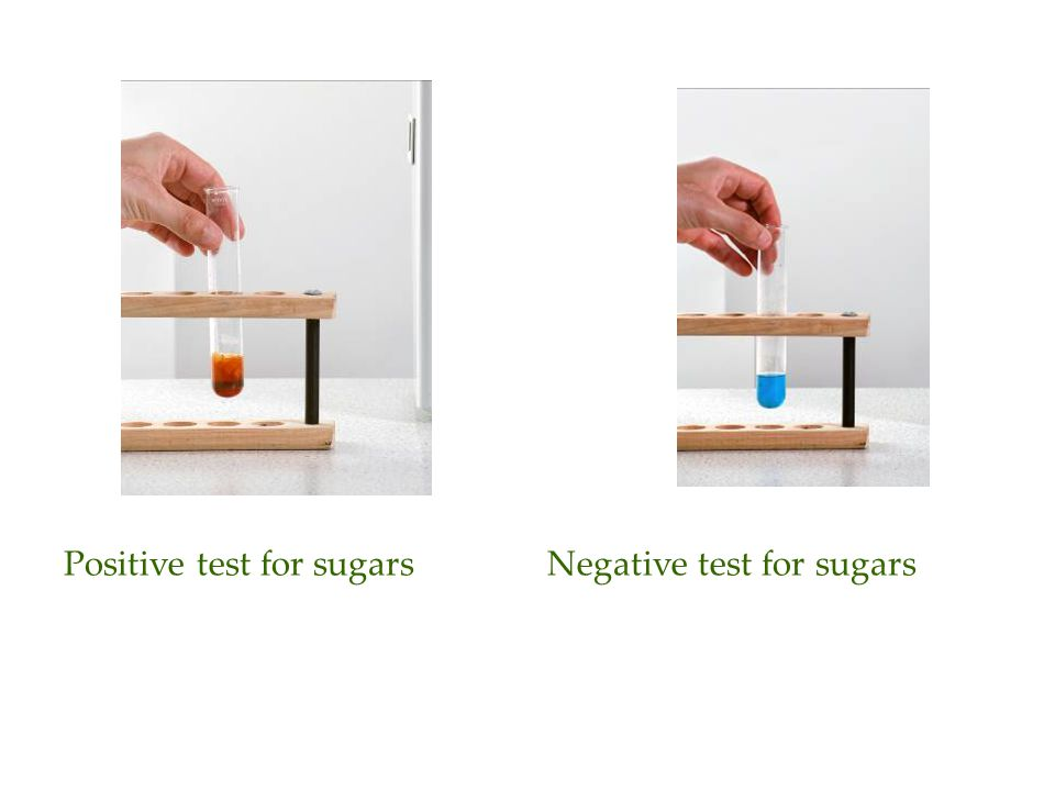 Positive test for sugarsNegative test for sugars