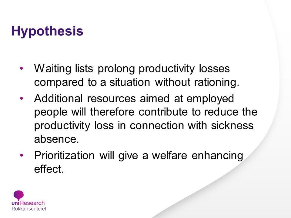 Hypothesis Waiting lists prolong productivity losses compared to a situation without rationing.