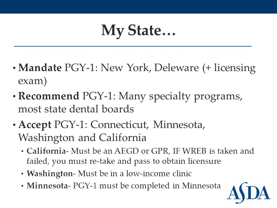 My State… Mandate PGY-1: New York, Deleware (+ licensing exam) Recommend PGY-1: Many specialty programs, most state dental boards Accept PGY-1: Connecticut, Minnesota, Washington and California California- Must be an AEGD or GPR, IF WREB is taken and failed, you must re-take and pass to obtain licensure Washington- Must be in a low-income clinic Minnesota- PGY-1 must be completed in Minnesota